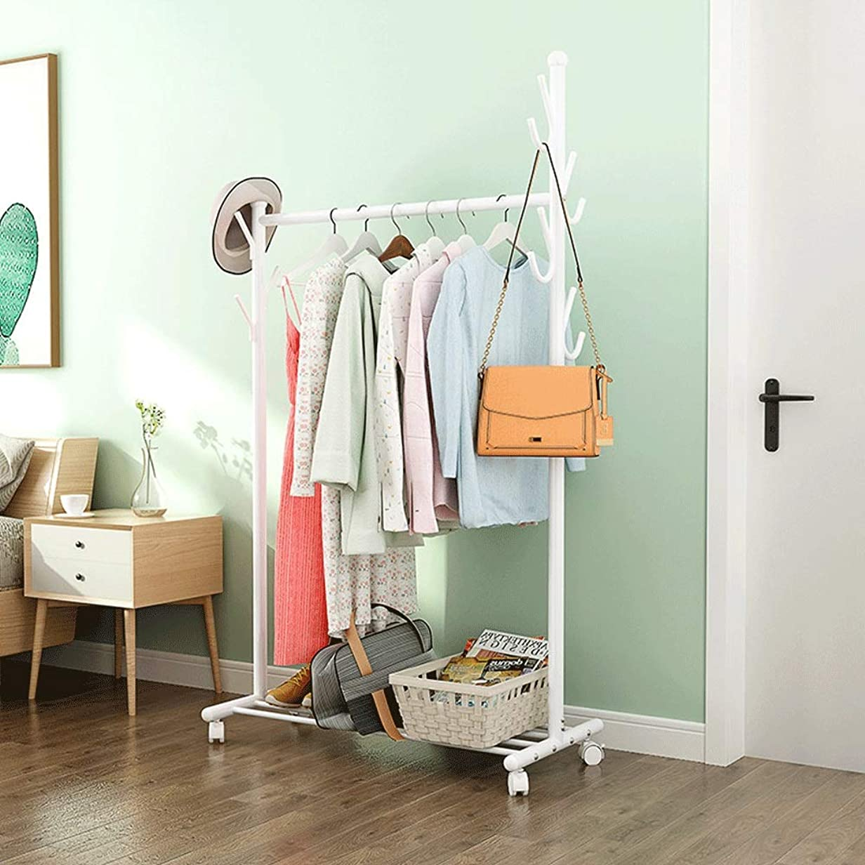 結果腕深くポールハンガー ホームオフィス廊下寝室用ボックスシューズ用ハンギングレールと下部収納棚付きのミニマリストの金属服レールスタンド (Color : White, Size : 45×56×168cm)