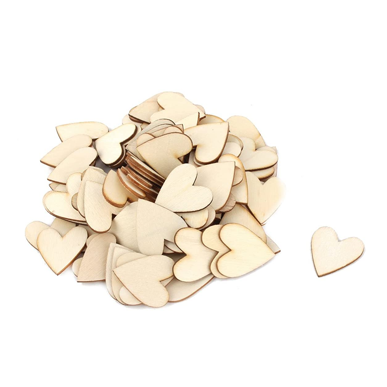 uxcell 100 Pcs Rustic Wooden Love Heart Wedding Table Scatter Decor DIY Crafts Slices 1