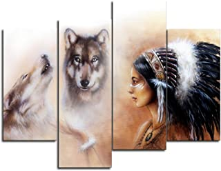 VIIVEI Native American Indian Girl Woman Wolf Animal Wall Art Canvas Modern Artwork Posters Prints Pictures for Bedroom Living Room Home Decor Painting 4 Panel Framed Ready to Hang (48