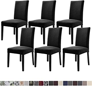 Fuloon 6 Pack Super Fit Stretch Removable Washable Short Dining Chair Protector Cover Seat Slipcover for Hotel,Dining Room,Ceremony,Banquet Wedding Party (Black)