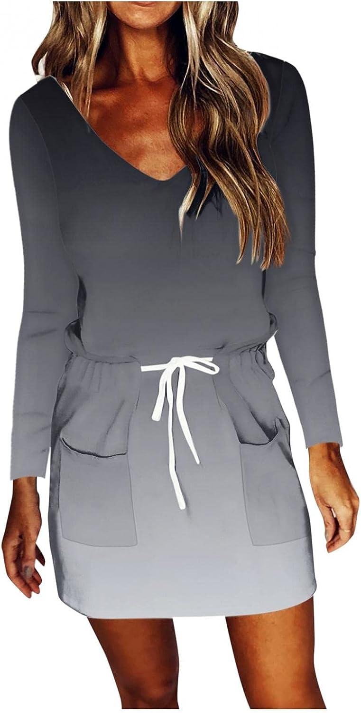 Gerichy Fall Dress for Women 2021, Womens Casual V Neck Long Sleeve Dress Gradient Drawstring Mini Sexy Workout Dress