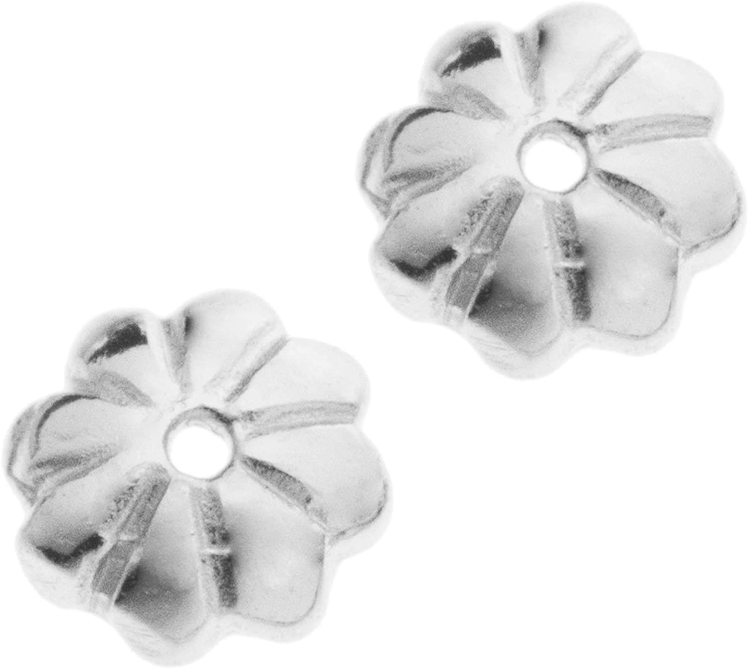 Max 66% OFF .925 Sterling Silver Flower Bead Caps Gold 14k T Findings Columbus Mall Bright