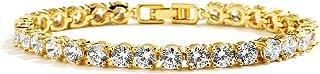 سوار ماريو 14 قيراط مطلي بالذهب تشيكوسلوفاكيا كريستال الزفاف ، مقاس صغير 6 1⁄2 بوصة ، مثالي للرسغ الأصغر