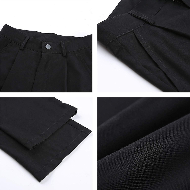 BSbattle Streetwear Lâche Noir Écharpe Droite Pantalon Femmes Chaud Printemps Taille Haute Pantalon Pantalon Long Pantalon Boutons Capris Poche Pantalon Gris Foncé.