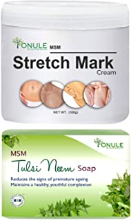 Ionule MSM Stretch Mark Cream with Tulsi Neem Soap for Men and Women Combo Pack of 2 - (2 X 90 gm)