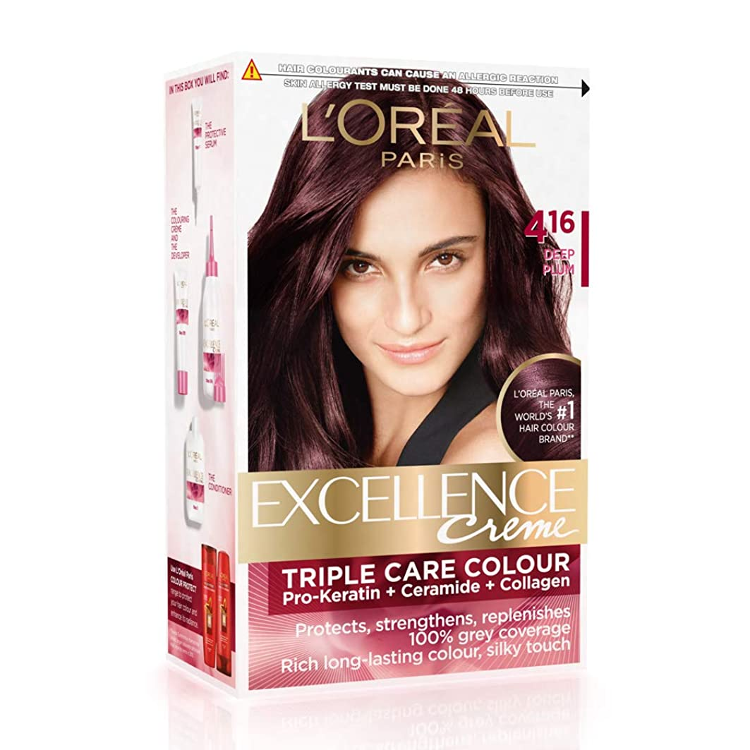 一緒海外騒乱L'Oreal Paris Excellence Creme Hair Color, 4.16 Deep Plum, 72ml+100g