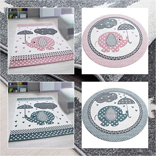 Ayyildiz Wunderschöne Kinderteppich, 11 mm Kurzflor - Kinderteppiche Elefant Motiv Rund/Viereck, Farbe:Pink, Größe:160 x 160 cm