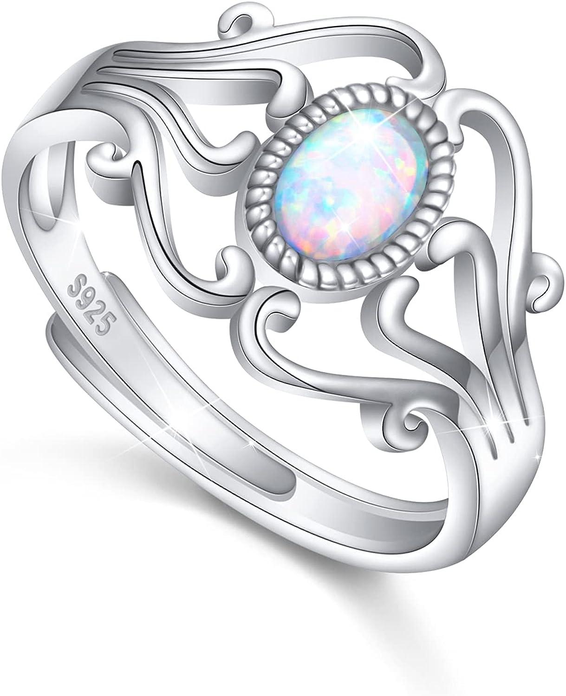 Adjustable Atlanta Mall White Created Opal Rings Girls Women Arlington Mall for 925 Sterling