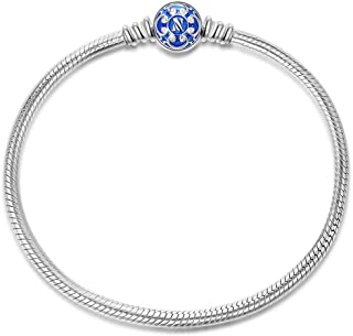 Christmas Bracelet Gifts 925 Sterling Silver Snake Chain Bracelet with Blue Clasp Charms-Endearing Gifts For Her