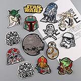 Patch Sticker,Parche de ropa Apliques DIY Coser o Planchar para Ropa Camiseta Jeans Sombrero Pantalon Bolsas Cartoon Star Wars 14 piezas