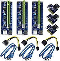 6Pin PCI-E 1X to 16X Enhanced Powered Riser Adapter Card & USB 3.0 Extension Cable & 6Pin to SATA Power Cable & GPU...