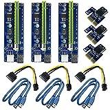 6 Pin PCI-e da 1x a 16x Scheda Adattatore Riser Potenziata & Cavo di prolunga USB 3,0 & 6Pin al Cavo di Alimentazione SATA & Adattatore Riser GPU,Scheda Grafica Express Ethereum Mining ETH (3 Pezzi)