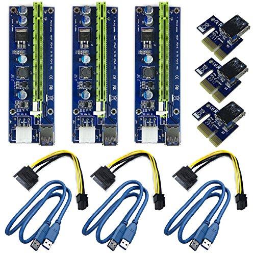 6 Pin PCI-E 1x a 16x Tarjeta de Adaptador de Riser Amplificada Mejorada & Cable de Extensión del USB 3,0 & 6pin al Cable de Transmisión de SATA, GPU Graphic Card Express Mining Eth (3 pcs)