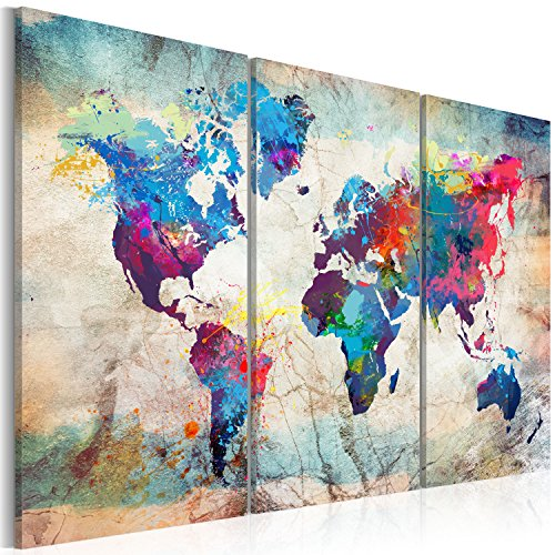 murando Acrylglasbild Weltkarte 120x80 cm 3 Teilig Wandbild auf Acryl Glas Bilder Kunstdruck Moderne Wanddekoration - Reise Landkarte Map k-A-0178-k-e