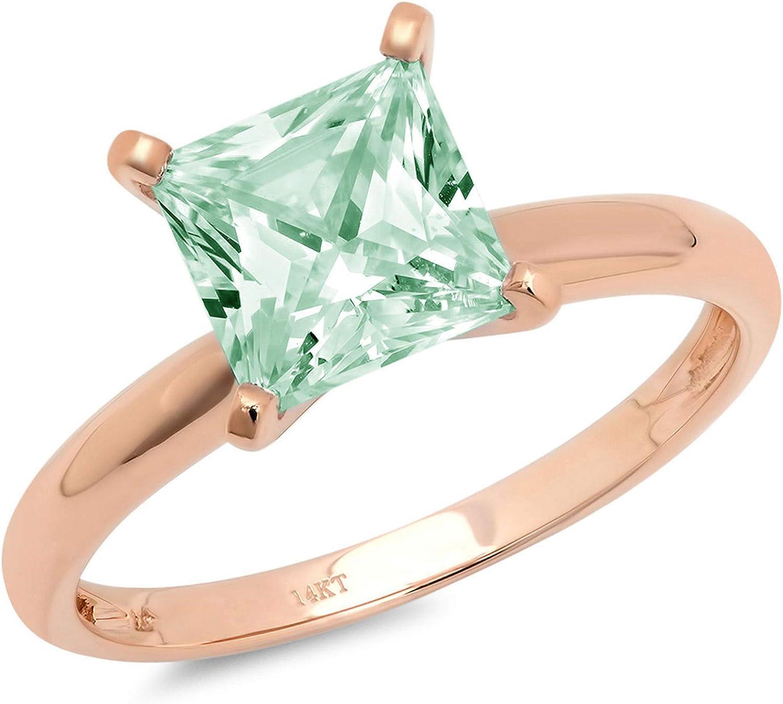 0.95 ct Brilliant Princess Cut Solitaire Blue Moissanite Ideal VVS1 4-Prong Engagement Wedding Bridal Promise Anniversary Designer Ring Solid 18K Rose Gold for Women