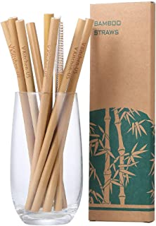 Organic Reusable Bamboo Straws with Coconut Fiber Brush 8 inch Long Drinking Biodegradable Kids and Adults Case for Travel |10 Pack| Handcrafted Natural Alternative to Plastic