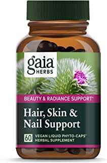Gaia Herbs Hair, Skin & Nail Support, Vegan Liquid Capsules, 60 Count - Growth Nutrients & Antioxidants to Support a Natur...