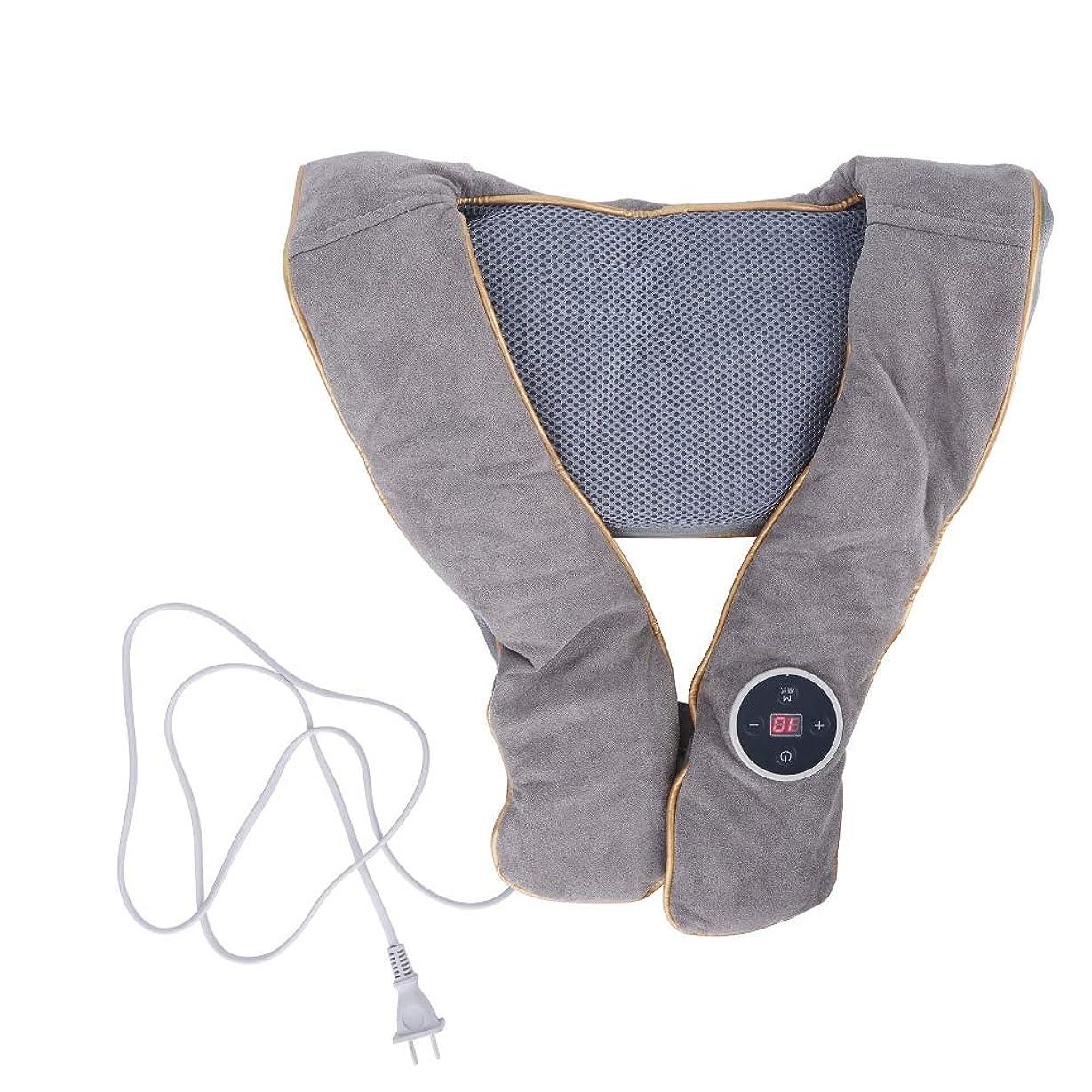四ほのめかす補正首肩マッサージャー枕ショール、加熱指圧バックマッサージ機ディープニーディングティッシュマッサージ用筋肉痛テンションケア