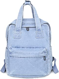 Girls Vintage Denim Backpack Jeans Daypack Travel Bag Rucksack Light Blue