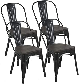 Metal Kitchen Dining Chairs with Wooden Seat,Stackable...