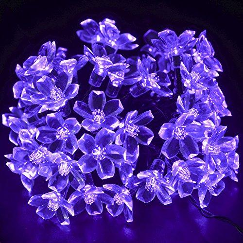 CrazyFire 50 Purple Flower LEDs Outdoor Solar Motion Sensor Blossom Fairy LED String Light for Festival Celebration Christmas Party Patio Lawn Fence Decoration