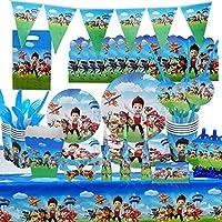 ynk set di stoviglie per feste paw patrol, 97pcs kit di forniture per feste decorazioni di compleanno per bambini party forniture per feste set di decorazioni include posate, tazze (color2)