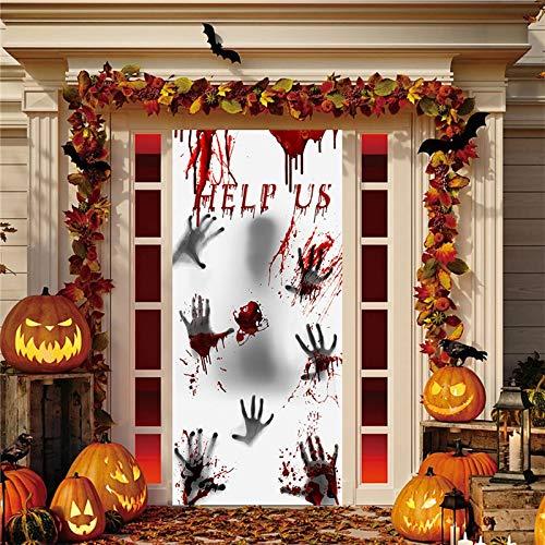BLOUR Horror Aufkleber Blut Handabdruck Glas Fenster Aufkleber Home Decor Abnehmbare Halloween Wohnzimmer Klassenzimmer Dekorationen Wandaufkleber