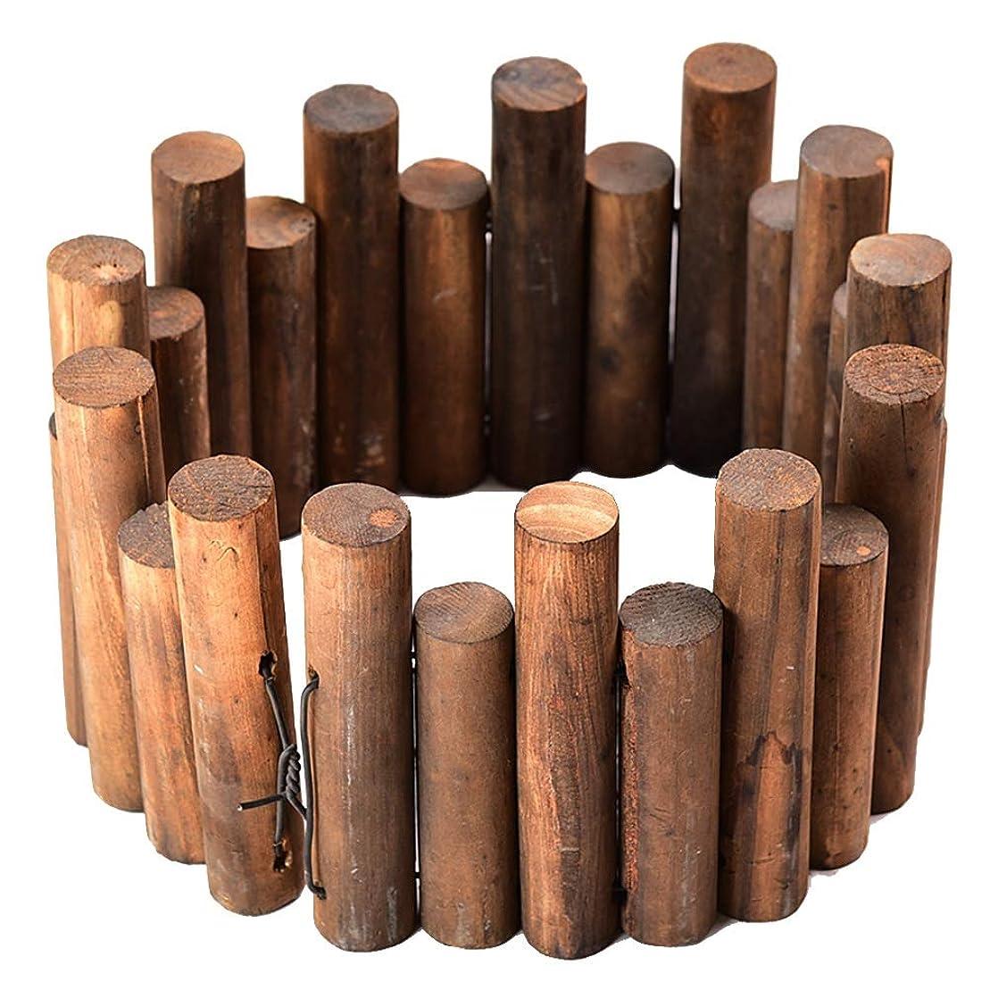 ZHANWEI デコラティブ 庭のフェンス 炭化 木製 ガーデンエッジ 垣 柵 アウトドア パティオ ラウンドステーク 花壇 (Color : 1pc, Size : 98x3.5x20cm)
