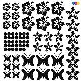 Kit de adesivos para coche, flores y mariposas, Adesivo de vinilo PVC ideal para decorar coches, caravanas, motos, paredes, PC, cascos, paredes y muebles, color negro, 70 unidades