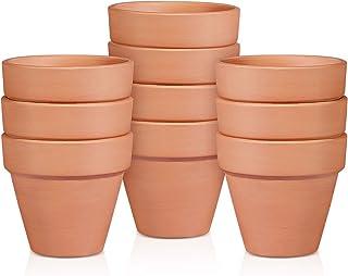Bestomz Mini macetas de arcilla, maceteros de terracota, cerámica, para cactus, flores, viveros - Ideales para plantas, manualidades, como recuerdo de boda - 10 unidades, como en la imagen, 2.2x2inch