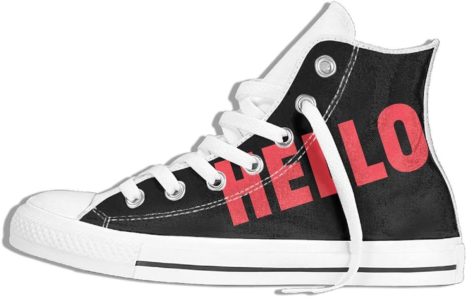 Unisex High-Top Canvas Sneakers Hello Flat Anti Skid Running Trainers shoes