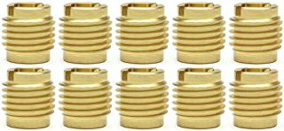 """SNUG Fasteners (SNG875) Ten (10) 3/8""""-16 Brass Knife Threaded Inserts for Wood 