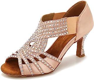 TTdancewear Women Rhinestone Dance Shoes Ballroom Latin Salsa Bachata Performance Dance Dancing Shoes