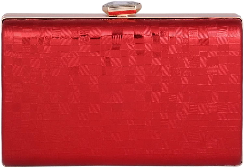 Damara Womens Square Medium Metal Handbag Rhinestone Snap Clutch