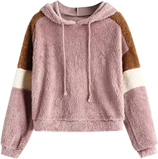 Beautyfine Fashion Plush Hooded Sweatshirt Women Casual Loose Long Sleeve Splice Strappy Zipper Coat Tops