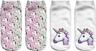FENICAL, 2 Pares de Calcetines Bajos Calcetines Cortos de Verano Calcetines Deportivos de Dibujos Animados para Mujer Niña