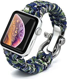 Bellamei Paracord Bracelet Survival Bracelets Compatible for Apple Watch Band 42mm 38mm iWatch 44mm 40mm Band Sport Wristbands for Series4/3/2/1 Nike+ Edition