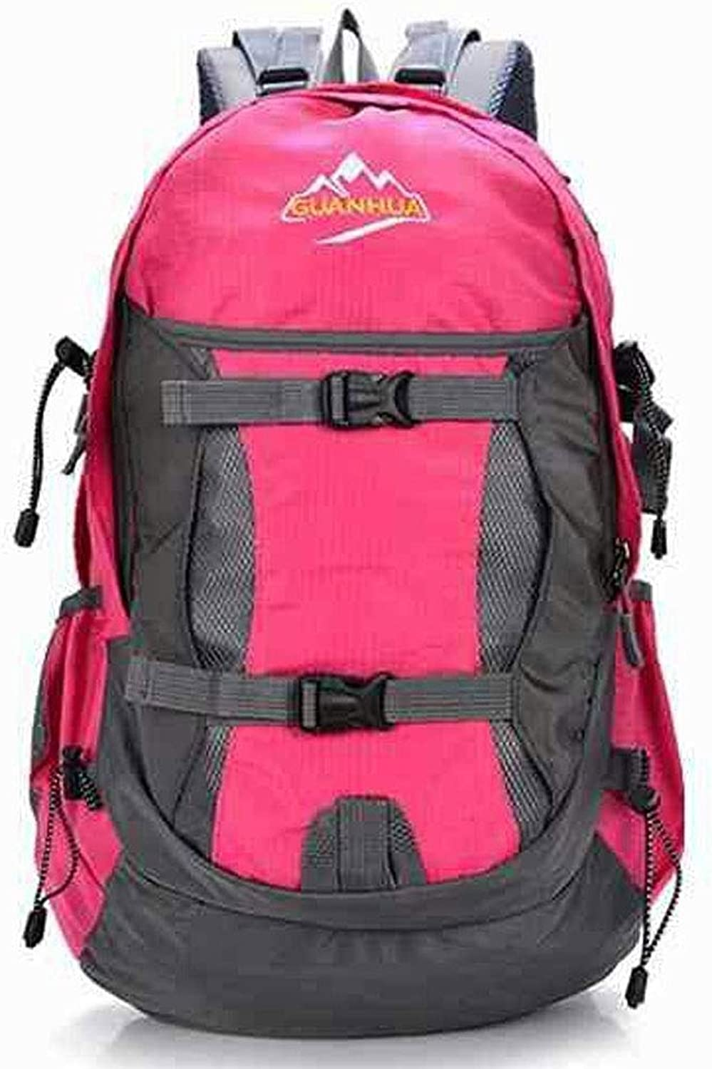 Men and women outdoor backpack Camping professional travel bag Large capacity 40L waterproof nylon mountaineering bagpinkred