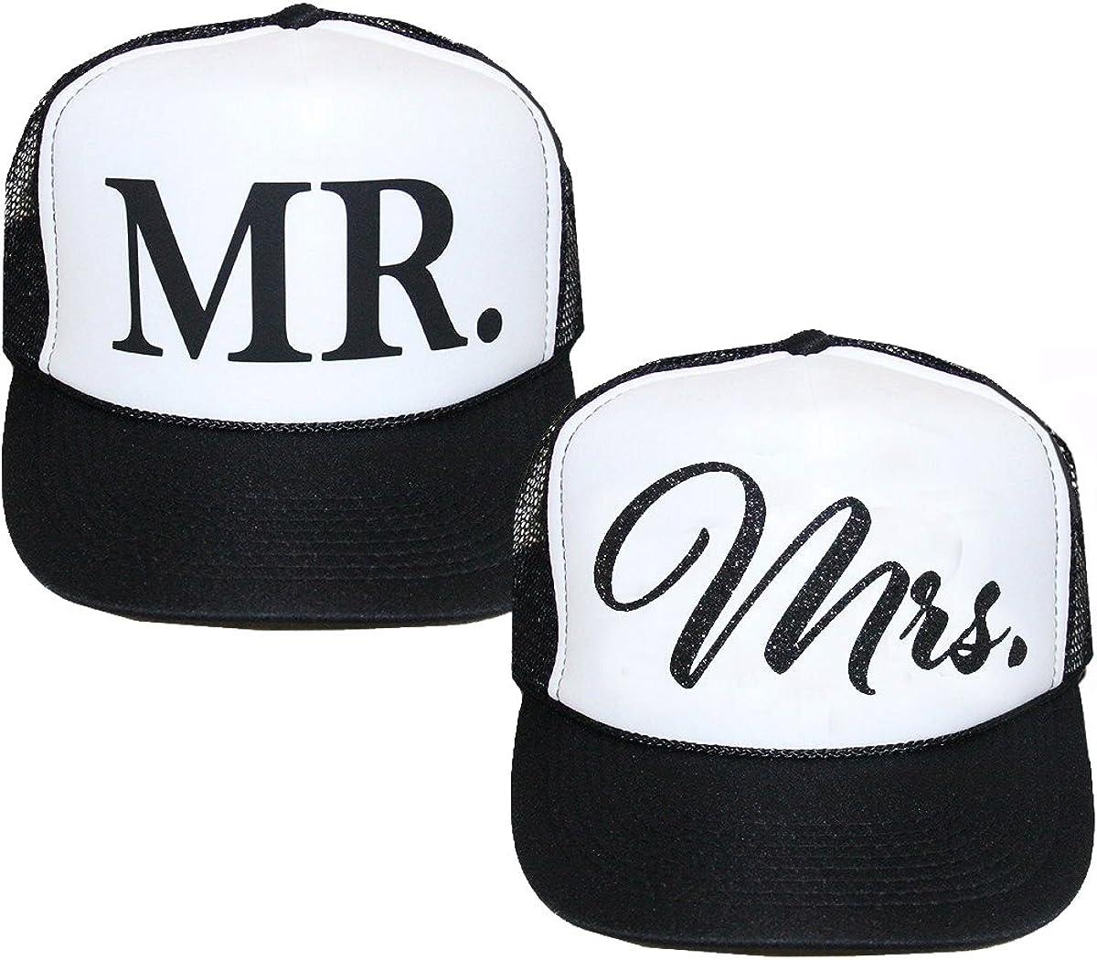 Classy Bride Mr. and Mrs. Trucker Hat Set Black, White