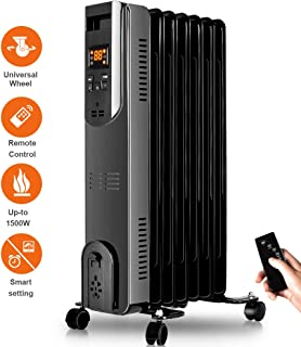 Oil Filled Radiator Heater - Space Heater with Remote Control, Digital Display, Overheat Tip-Over Protection, Oil Heater Room Heater Portable Heater 1500W Constant Heating for Large Room and Office