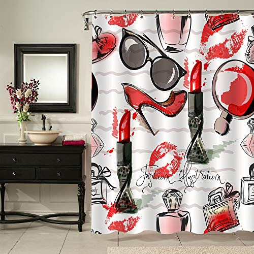 """MitoVilla Fashion Makeup Shower Curtain for Female Bathroom Decor, Cosmetic Lipstick Perfume Art Print Bathroom Accessories, Unusual Gifts for Women and Teen Girls, Red and Black, 72"""" W x 72""""..."""