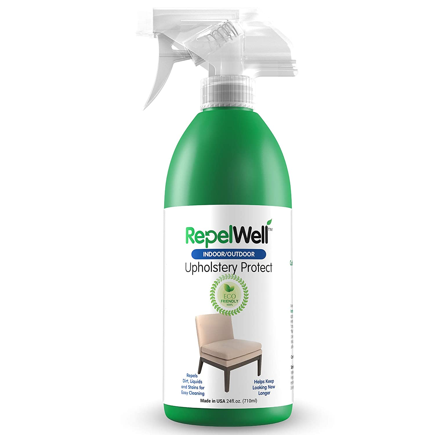 RepelWell Upholstery Protect Stain & Water Repellent Spray (24oz) Eco-Friendly, Pet-Safe Spray Keeps Your Fabric, Leather & Suede Upholstery Looking Like New