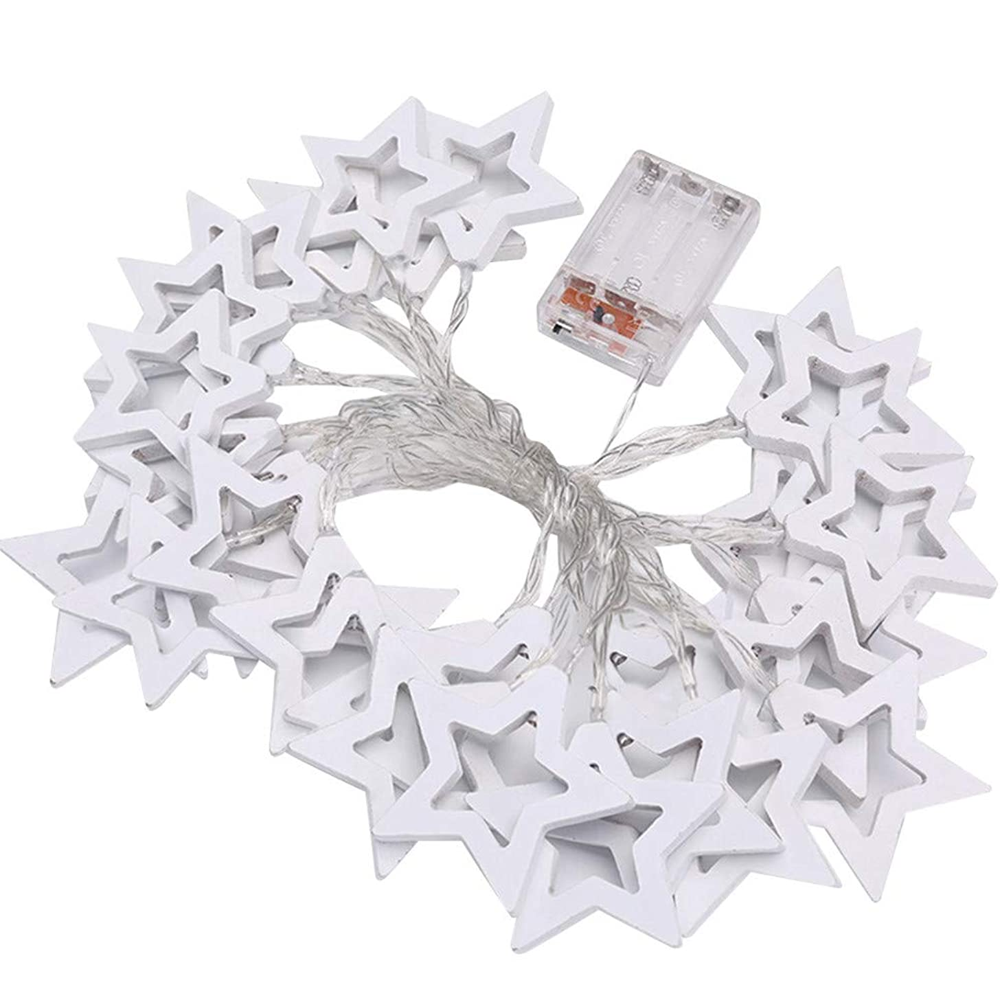 NISWDE LED Star Lights Wooden Star Shape Fairy Lights Battery Operated String Lights for Bedroom Star Lights for Patio Summer Night Outdoor Decor Teepee Lights