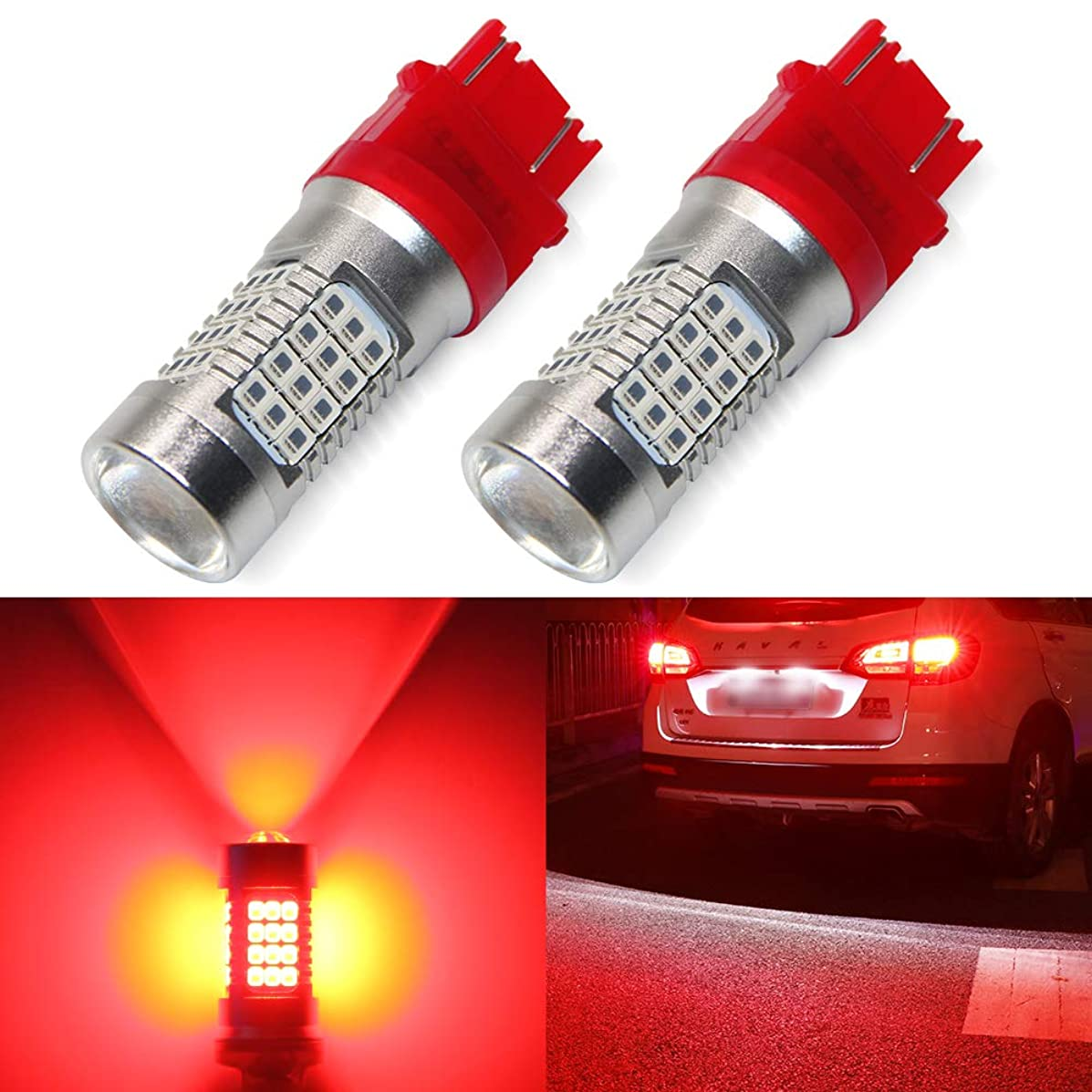 3157 Led Bulbs Red 2000 Lumens 3156 3057 3056 4157 54-SMD LED Chipsets 12-24V 2PC Pack Led Bulb with Projector for Car Vehcile Used as Brake Tail Lights, Newest Super Bright (3157 Red)