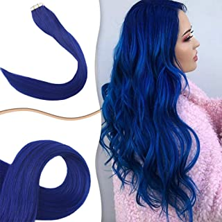 Easyouth Tape In Hair Extensions 24Inch 25g 10Pcs Per Package Blue Tape In Hair Extensions Full Head Tape Hair Extensions