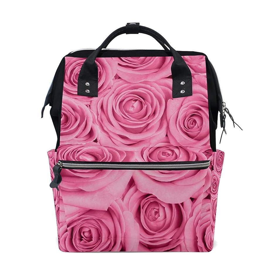 Pink Nature Rose Flower School Backpack Large Capacity Mummy Bags Laptop Handbag Casual Travel Rucksack Satchel For Women Men Adult Teen Children