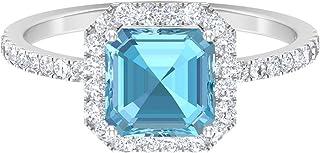 Anillo solitario de corte Asscher de 7 mm, anillo de halo de moissanita D-VSSI, anillo de compromiso de oro blanco de 14 q...