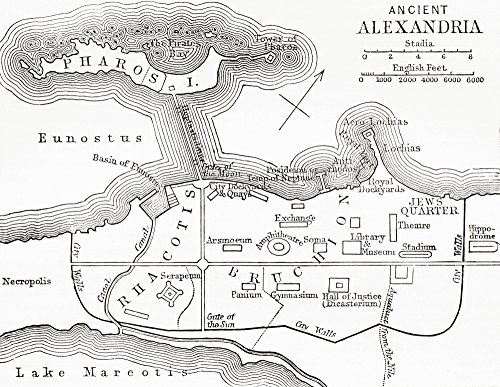 Posterazzi Map of ancient Alexandria Egypt. From The Imperial Bible Dictionary published 1889. Poster Print, (15 x 12)