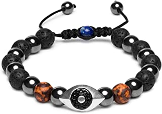 Karseer Hamsa Evil Eye Bracelet, Natural Hematite and Lava Rock Aromatherapy Essential Oil Diffuser Bracelet, Anti Anxiety Stress Relief Jewelry Gift, Unisex