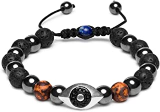 Hamsa Evil Eye Bracelet, Natural Hematite and Lava Rock Aromatherapy Essential Oil Diffuser Bracelet, Anti Anxiety Stress Relief Jewelry Gift, Unisex